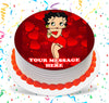 Betty Boop Edible Image Cake Topper Personalized Birthday Sheet Custom Frosting Round Circle