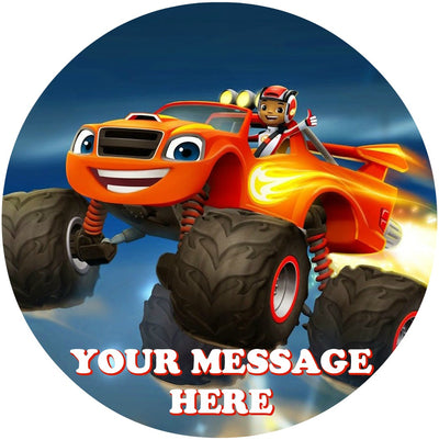 Blaze And The Monster Machines Edible Image Cake Topper Personalized Birthday Sheet Custom Frosting Round Circle