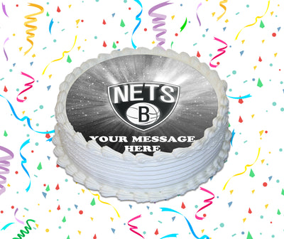 Brooklyn Nets Edible Image Cake Topper Personalized Birthday Sheet Custom Frosting Round Circle