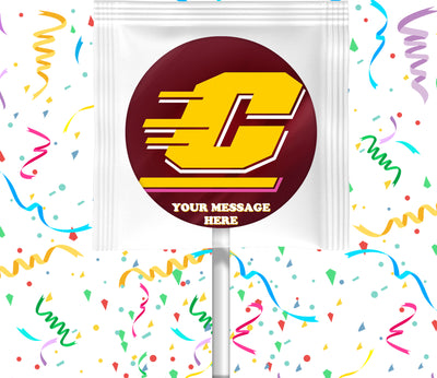 Central Michigan Chippewas Lollipops Party Favors Personalized Suckers 12 Pcs