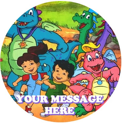 Dragon Tales Edible Image Cake Topper Personalized Birthday Sheet Custom Frosting Round Circle