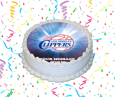 LA Clippers Edible Image Cake Topper Personalized Birthday Sheet Custom Frosting Round Circle