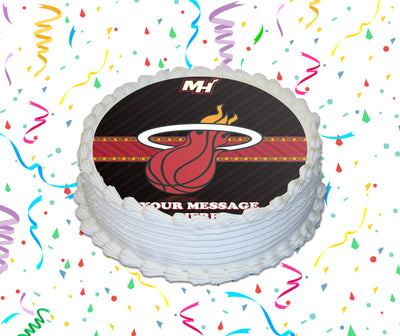 Miami Heat Edible Image Cake Topper Personalized Birthday Sheet Custom Frosting Round Circle