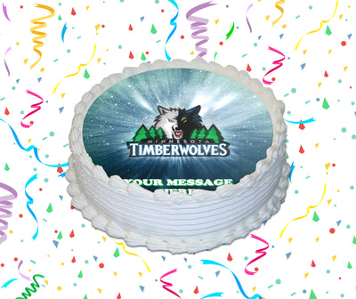 Minnesota Timberwolves Edible Image Cake Topper Personalized Birthday Sheet Custom Frosting Round Circle