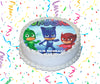 PJ Masks Edible Image Cake Topper Personalized Birthday Sheet Custom Frosting Round Circle