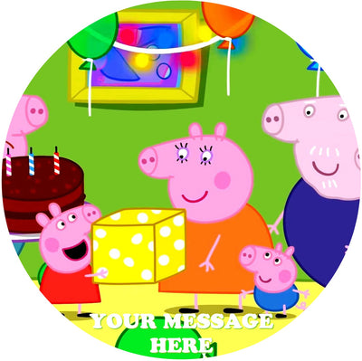Peppa Pig Edible Image Cake Topper Personalized Birthday Sheet Custom Frosting Round Circle