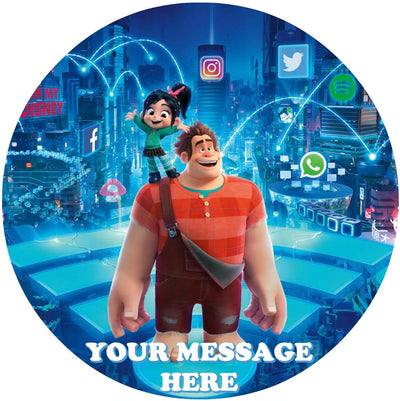 Ralph Breaks The Internet Edible Image Cake Topper Personalized Birthday Sheet Custom Frosting Round Circle