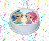 Shimmer And Shine Edible Image Cake Topper Personalized Birthday Sheet Custom Frosting Round Circle