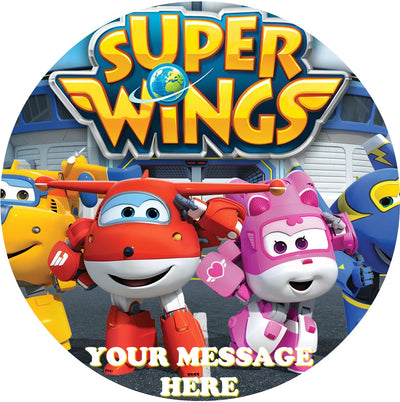 Super Wings Edible Image Cake Topper Personalized Birthday Sheet Custom Frosting Round Circle