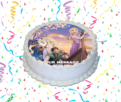 Tangled Edible Image Cake Topper Personalized Birthday Sheet Custom Frosting Round Circle