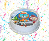 Top Wing Edible Image Cake Topper Personalized Birthday Sheet Custom Frosting Round Circle