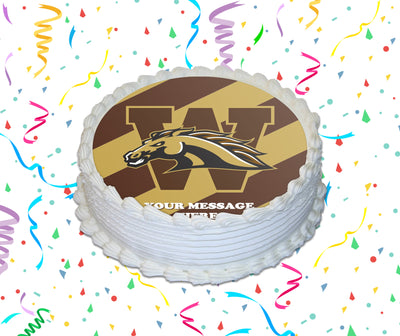 Western Michigan Broncos Edible Image Cake Topper Personalized Birthday Sheet Custom Frosting Round Circle