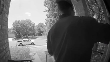 Man peek-a-boo into Home Windows, Taking Pictures caught on a Door Security Camera