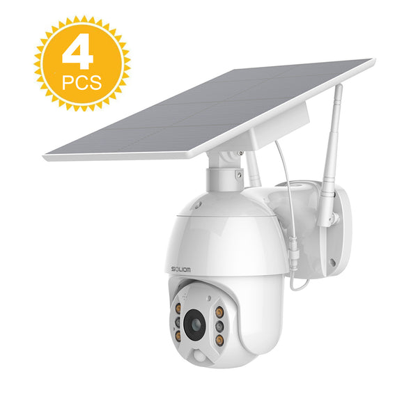 Soliom S600 Soalr Outdoor Spotlight Camera PTZ WiFi Wireless IP Security Camera  (4PCS)