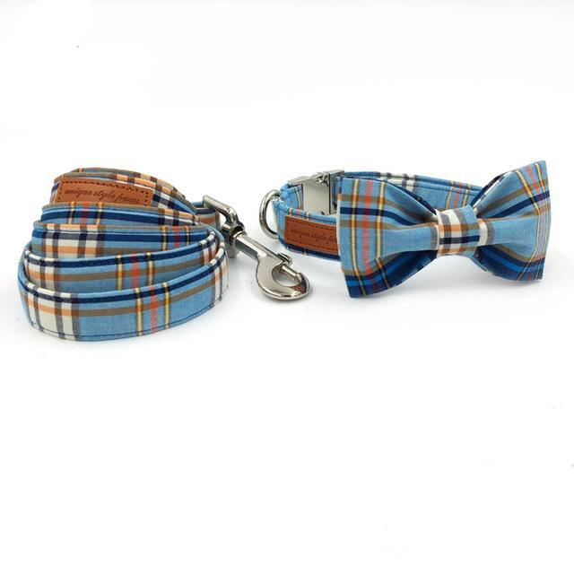 Pups! Plaid Collar & Leash Set-Pups Closet