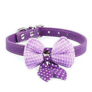 Pups! Bowknot Leather Collar - 5 colours available - Pups Closet