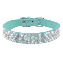 Load image into Gallery viewer, Pups! Bling Leather Collar - 5 colours available-Pups Closet