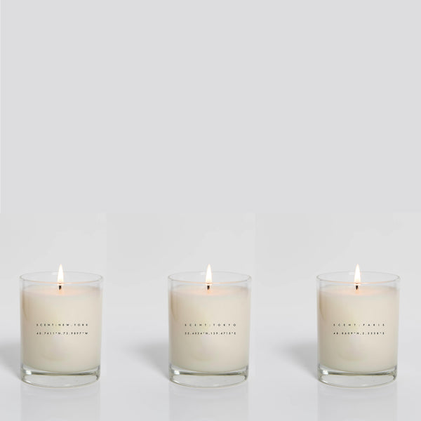 Set of 3 Candles: New York, Tokyo, Paris