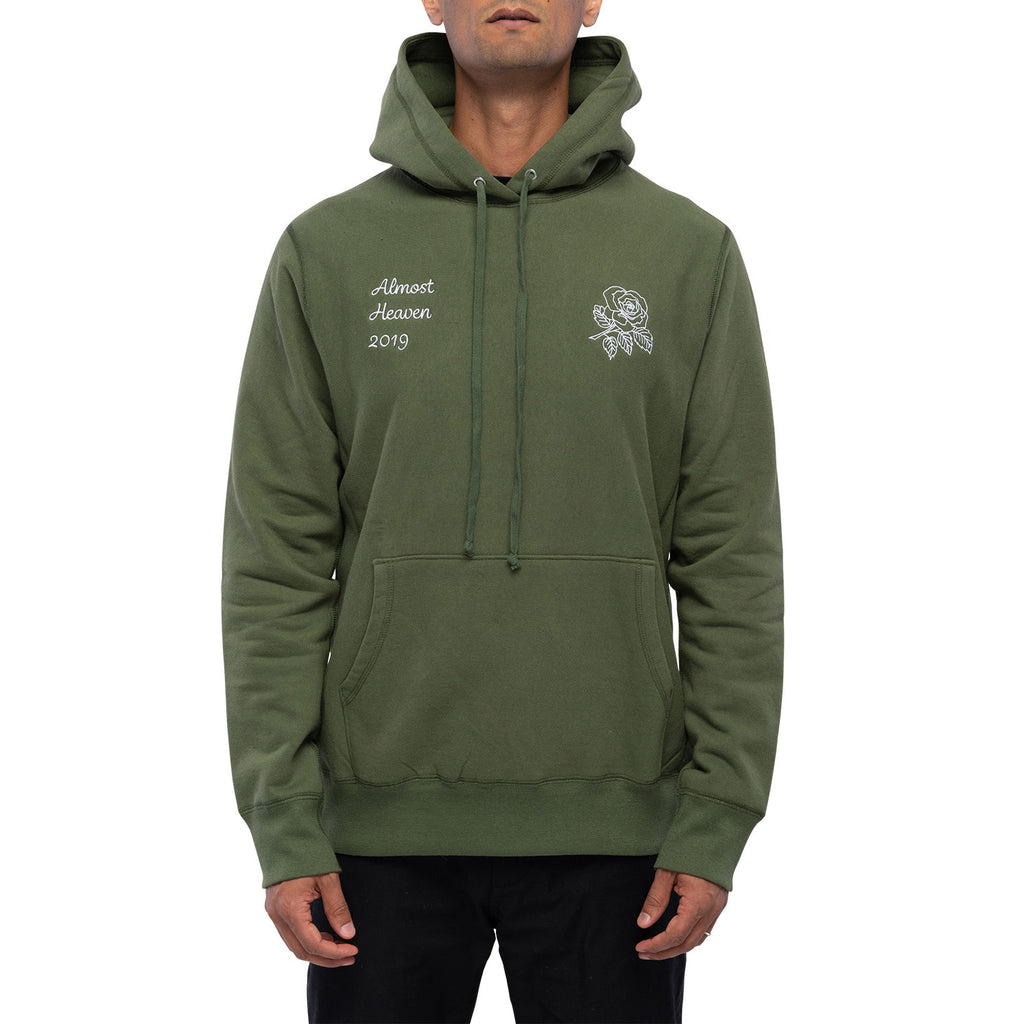 ALMOST HEAVEN HOODED SWEATSHIRT | OLIVE