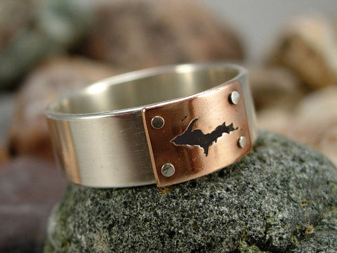 Silver U.P. Ring created by Aaron Sault