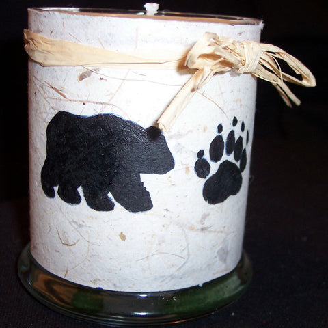 Bear Print on Mulberry Paper Soy Candle