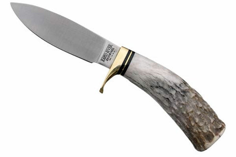 Drop Point Hunting Knife - Elk Antler Handle