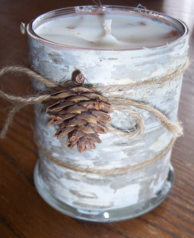 White Birch Wrapped Candle