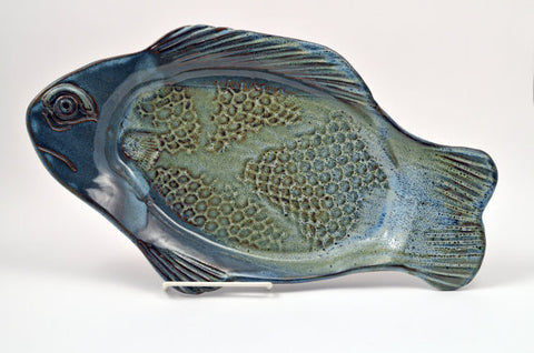 Large Blue Fish Platter