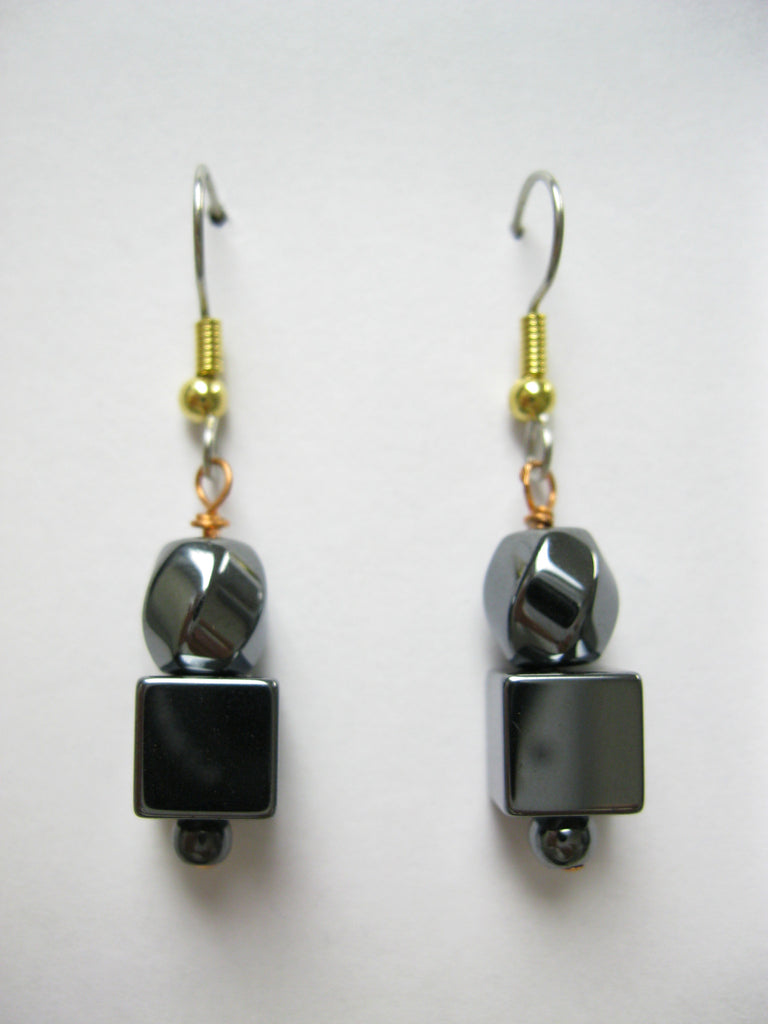 Hematite Super Cube Drop Earings