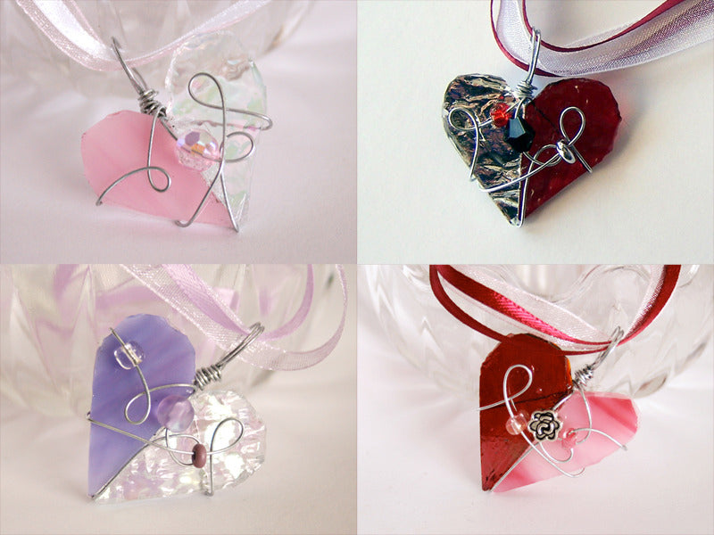 Glass Heart Pendants and Necklace