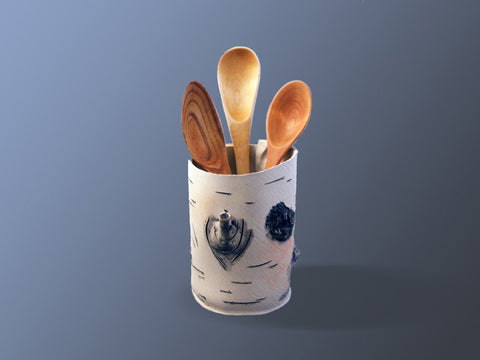 White Birch Utensil Holder