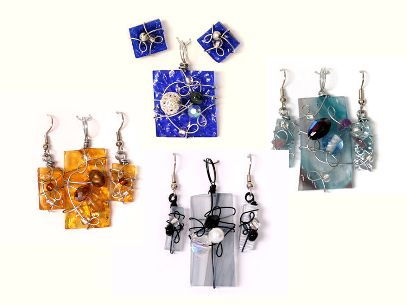 Glass Pendant & Earring Jewelry Sets