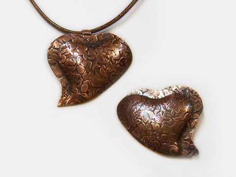 Copper Sweet Heart Pendant or Pin