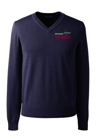 Men's Long Sleeve V-neck Sweater Michigan Works! Logo