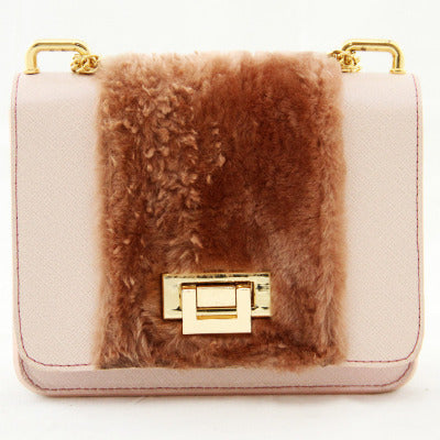 Blush Fur Medium Shoulder Bag