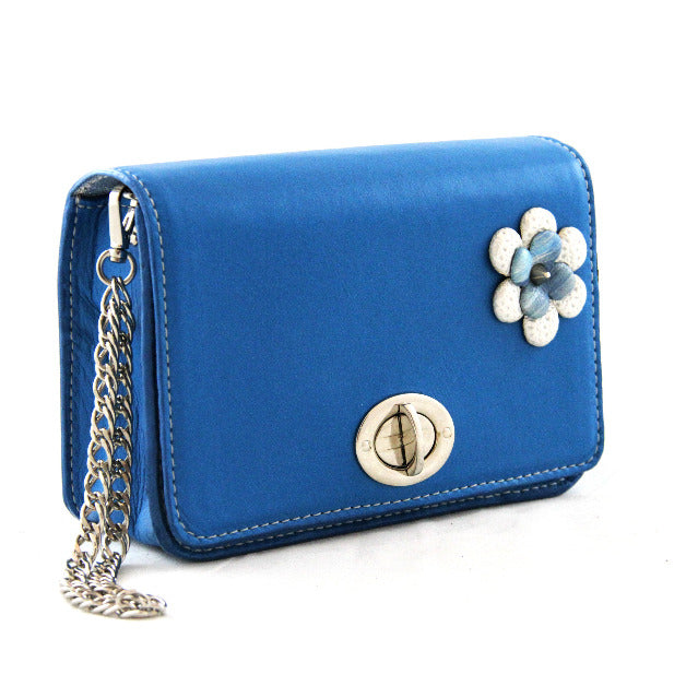 Blue Leather Wristlet With Leather Flower Detailing