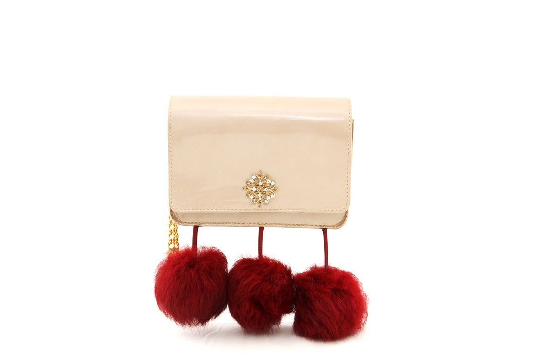 Pom Pom & Patent Leather Wristlet