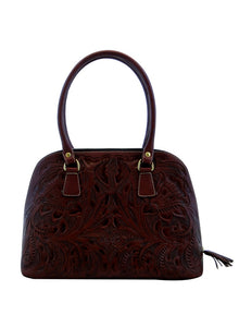 Shell handmade engraved Handbag Burgundy