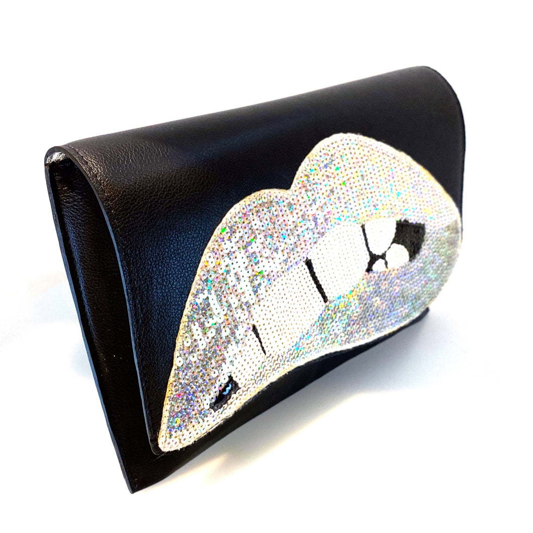 Sequined Biting Lips - Oversized Clutch