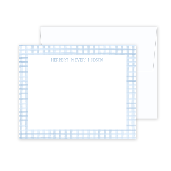 Blue Gingham Stationery