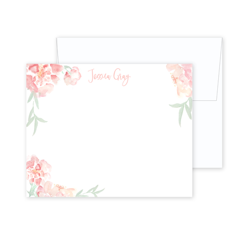 Watercolor Peony Stationery