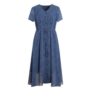 Women Long Dress 100%Real Silk Crepe Casual Dots Printed Dresses V neck Holiday Dress 2019 New Summer Blue