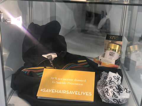 display case with save me from information and headband