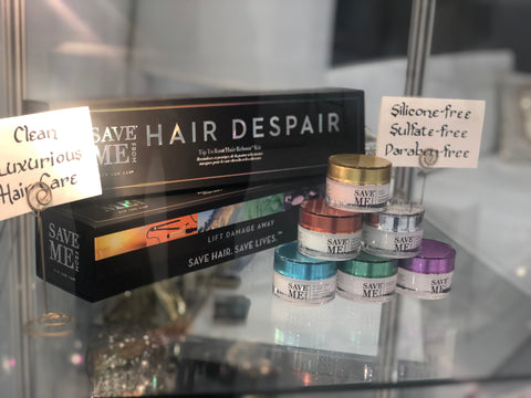 display case with save me from hair despair kit