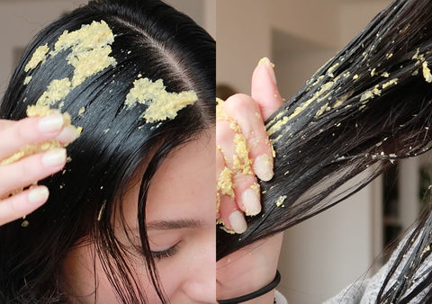 application of a fenugreek hair mask
