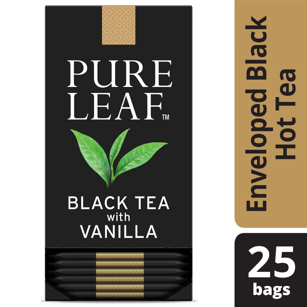 Pure Leaf Hot Tea Bags Black with Vanilla 25 Count, Pack of 6