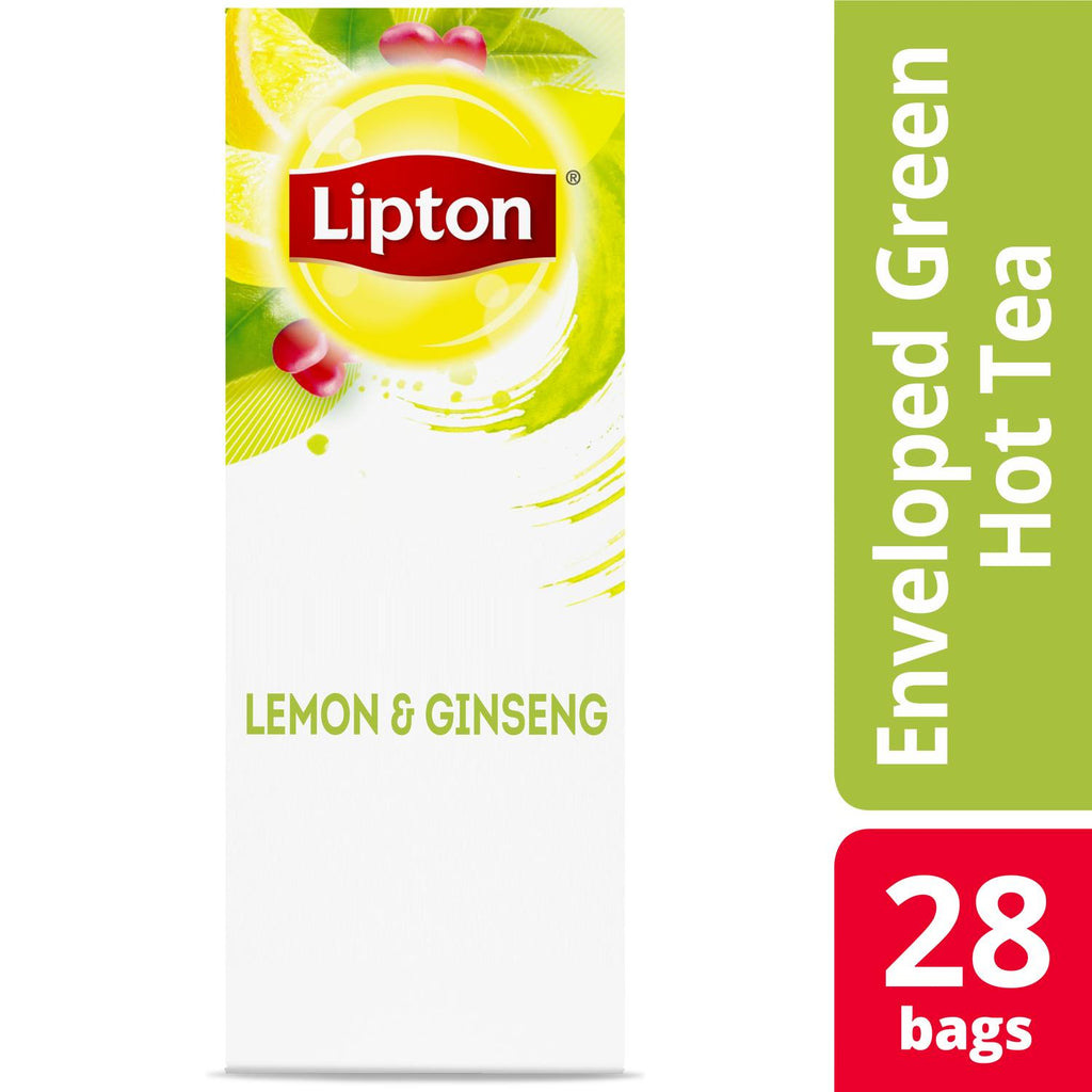 Lipton Green Tea with Lemon Ginseng 28 Count, Pack of 6