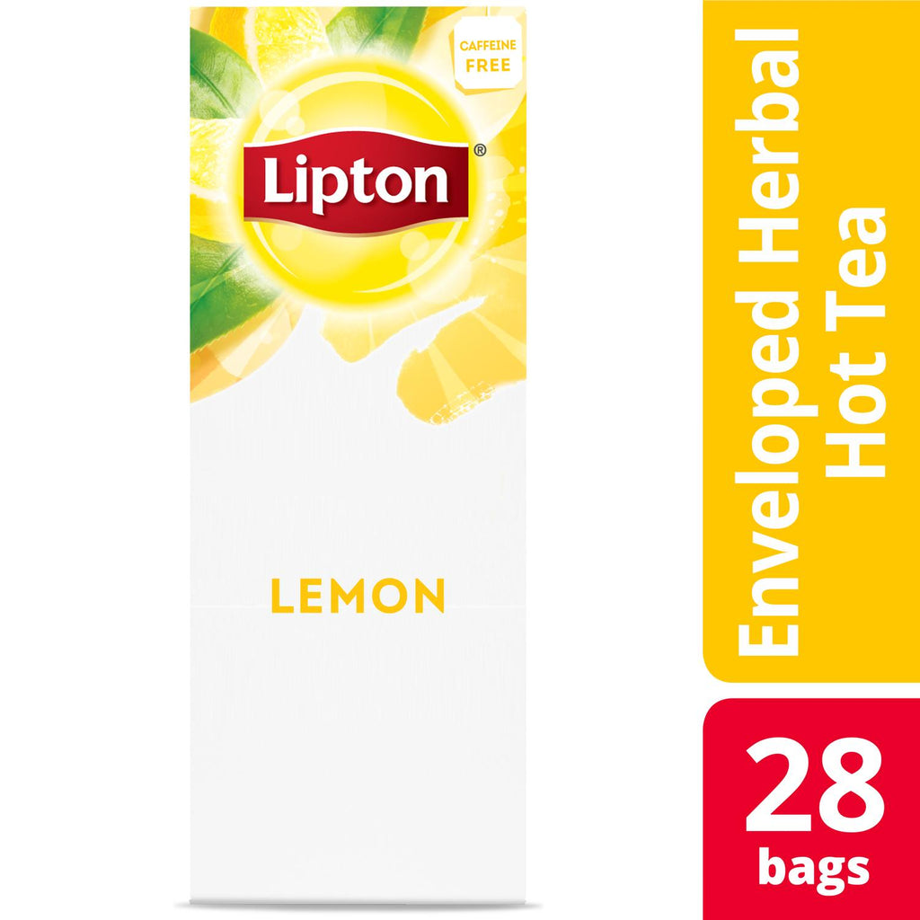 Lipton Hot Tea Bags Lemon Herbal 28 Count, Pack of 6