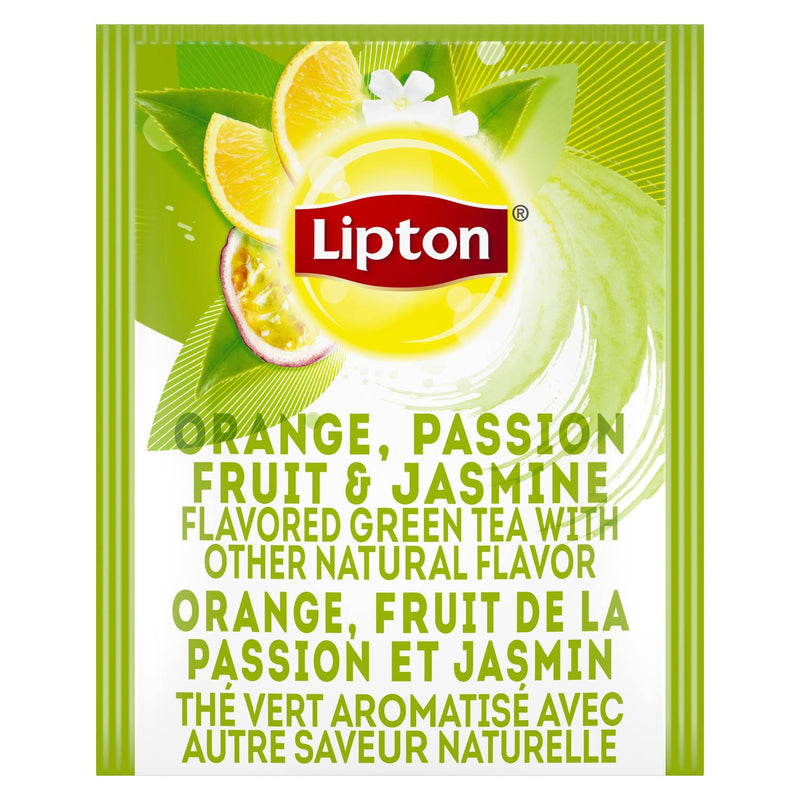Lipton Hot Tea Bags Green Tea with Orange, Passionfruit, and Jasmine 28 Count, Pack of 6