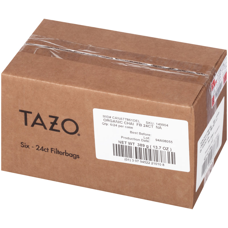 Tazo Hot Tea Filterbag Organic Chai 24 count Pack of 6